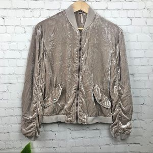 Free People Velvet Ruched Bomber Jacket Size Small